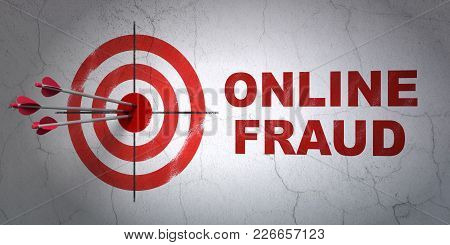 Success Safety Concept: Arrows Hitting The Center Of Target, Red Online Fraud On Wall Background, 3d