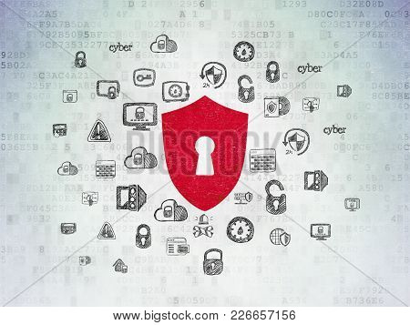 Privacy Concept: Painted Red Shield With Keyhole Icon On Digital Data Paper Background With  Hand Dr