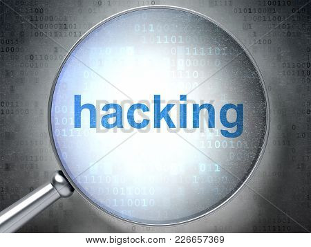 Privacy Concept: Magnifying Optical Glass With Words Hacking On Digital Background, 3d Rendering