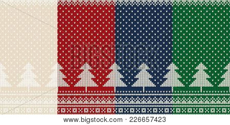 Set Of 4 Winter Holiday Seamless Knitted Patterns With A Christmas Trees. Knitting Wool Sweater Desi