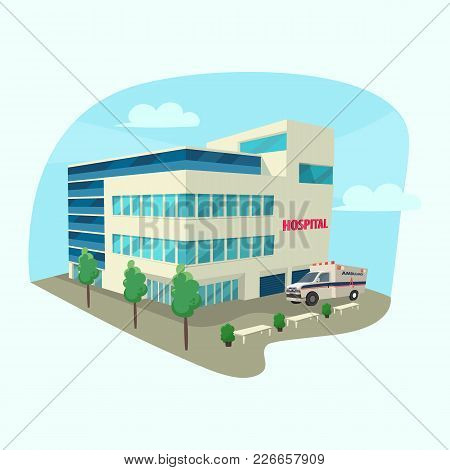 Clinic Or Hospital Building With Ambulance Car Or Rescue, Transportation Wagon. Isometric View At Ho