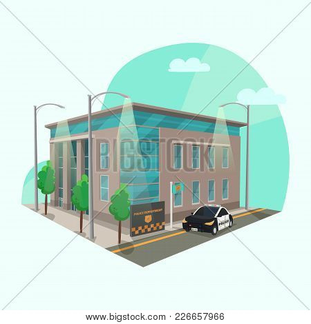 Police Station Or Department Building. Structure Of Police Office Or Prison With Officer Car Or Cop