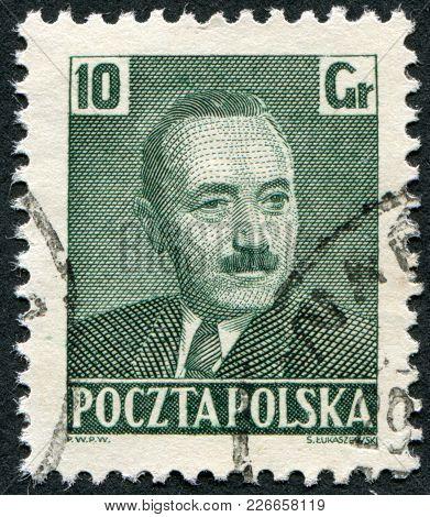 Poland - Circa 1950: A Stamp Printed In The Poland, The Portrait Of Boleslaw Bierut, Circa 1950
