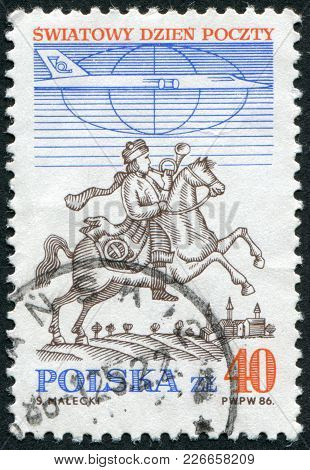 Poland - Circa 1986: A Stamp Printed In The Poland, Shows A Postman On Horseback In Breslau And Jet