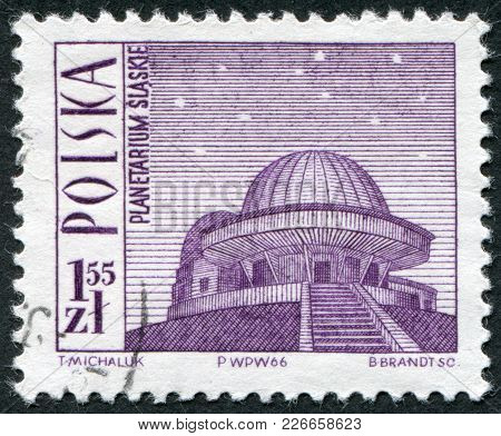 Poland - Circa 1966: A Stamp Printed In The Polish, Is Depicted Planetarium, Katowice, Circa 1966