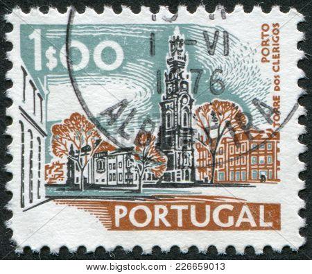 Portugal - Circa 1972: A Stamp Printed In The Portugal, Depicts The Clerigos Church In Porto, Circa