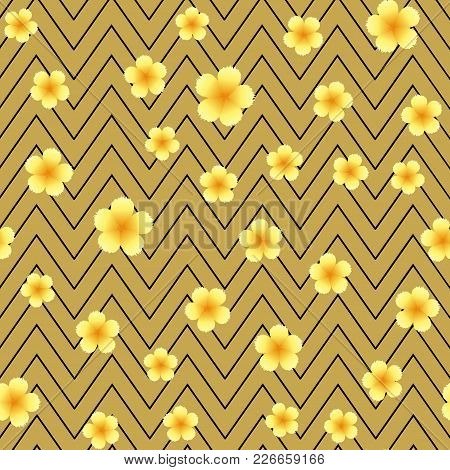 Seamless Pattern With Yellow Flowers And Zig Zag Lines. Vector.