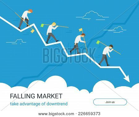 Falling Markets And Taking Advantage Of Downtrend. Business Graph Down Flat Vector Illustration Of P