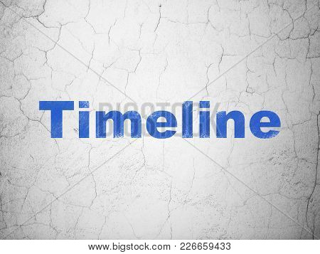 Time Concept: Blue Timeline On Textured Concrete Wall Background