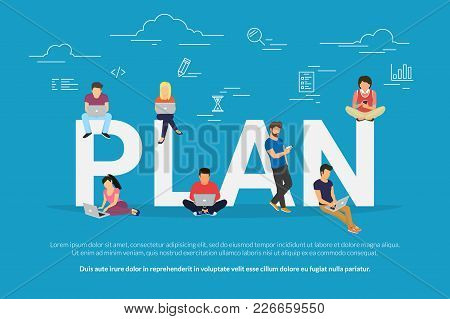 Plan Your Work And Projects Concept Vector Illustration Of Business People Using Devices For Working