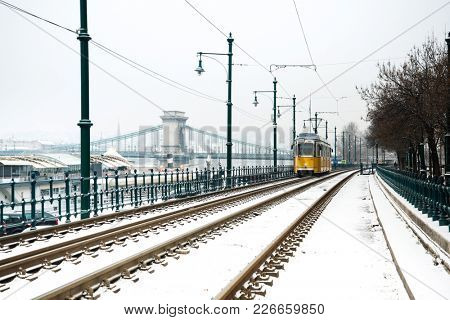 historic tramway in Budapest, Hungary, Europe