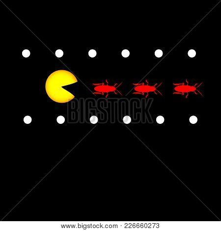 Hungry Pacman And Cockroaches. Vector Illustration For Insect Control Services
