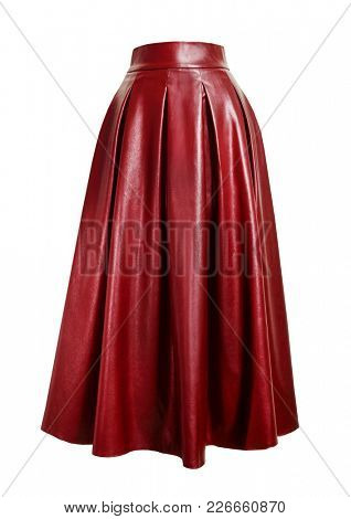 Fashion red skirt. Leather skirt