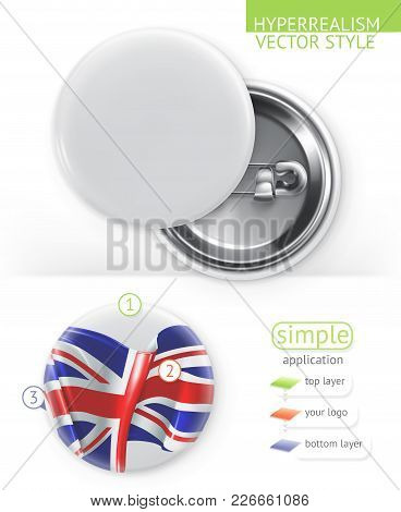 Blank White Badges, Hyperrealism Vector Style Simple Application