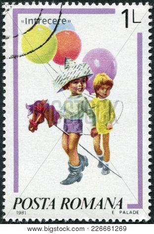 Romania - Circa 1981: A Stamp Printed In The Romania, Depicts A Girl With Balloons And A Boy With A