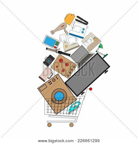 Full Shopping Cart. The Basket Is Filled With Household Appliances