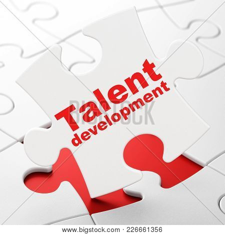 Studying Concept: Talent Development On White Puzzle Pieces Background, 3d Rendering