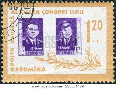 Romania - Circa 1963: A Stamp Printed In The Romania, Portrayed Soviet Cosmonauts Andriyan Nikolayev