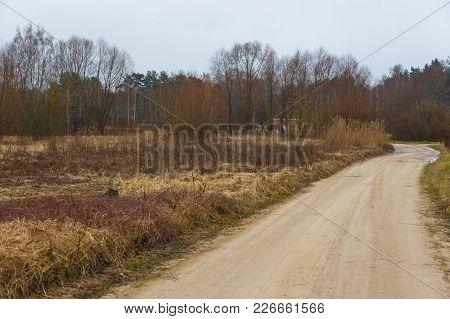 Empty Country, Field Road In Winter. Latvian Village.