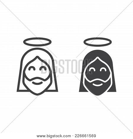 Jesus Line And Glyph Icon, Easter And Holiday, Christ Sign Vector Graphics, A Linear Pattern On A Wh