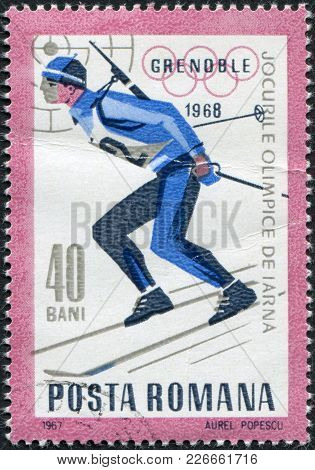 Romania - Circa 1967: A Stamp Printed In The Romania, Dedicated To The Winter Olympics In Grenoble,