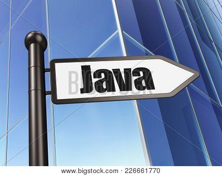 Database Concept: Sign Java On Building Background, 3d Rendering