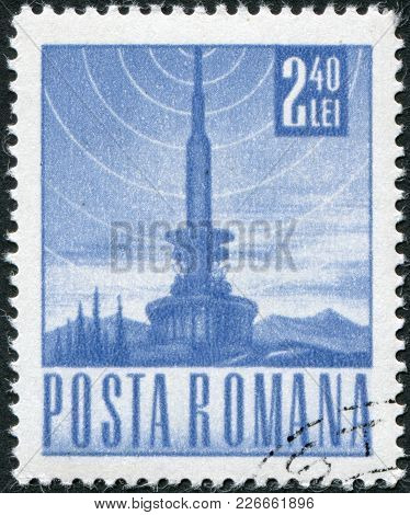 Romania - Circa 1968: A Stamp Printed In The Romania, Depicts A Television Tower And The The Symbol