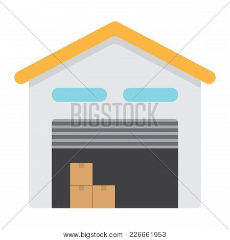 Warehouse Flat Icon, Logistic And Delivery, Storage Sign Vector Graphics, A Colorful Solid Pattern O