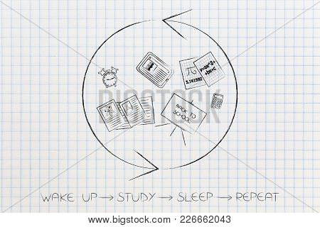 Wake Up Study Sleep Repeat Conceptual Illustration: School  Objects With Repeat Sign Around It