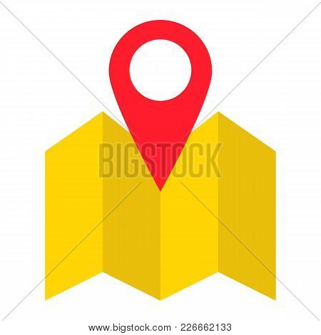 Pinpoint On Map Flat Icon, Geolocation And Navigation, Gps Sign Vector Graphics, A Colorful Solid Pa