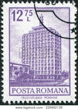 Romania - Circa 1972: A Stamp Printed In The Romania, Shows The Main Building Of The Tvr In Buchares