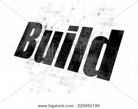 Construction Concept: Pixelated Black Text Build On Digital Background