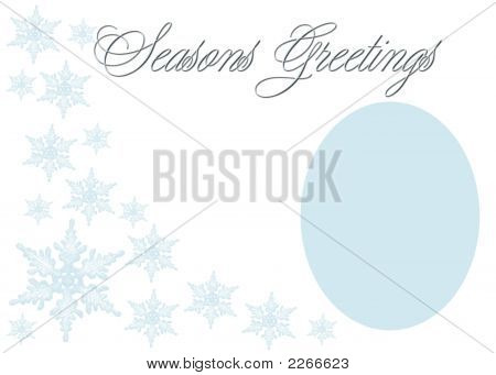 Elegant Blue Seasons Greetings In Blue On White Background For Photo Frame Or Greeting.