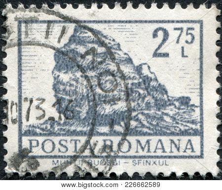 Romania - Circa 1972: A Stamp Printed In The Romania, Shows The Sphinx Rock, Bucegi Mountains, Circa