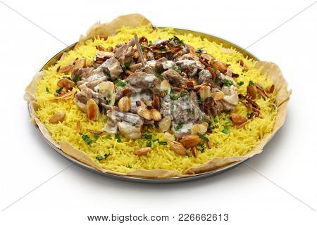 mansaf, Jordanian national dish isolated on white background