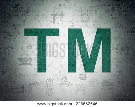 Law Concept: Painted Green Trademark Icon On Digital Data Paper Background With Scheme Of Hand Drawn