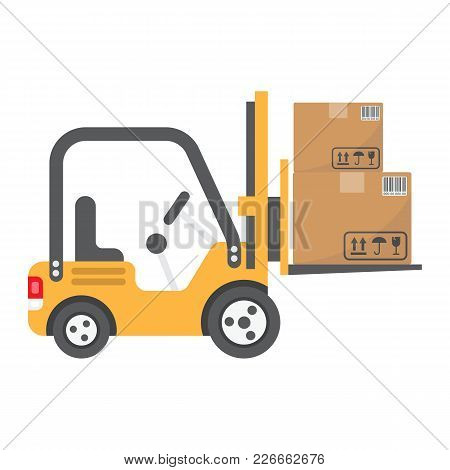 Forklift Delivery Truck Flat Icon, Logistic And Delivery, Cargo Vehicle Sign Vector Graphics, A Colo
