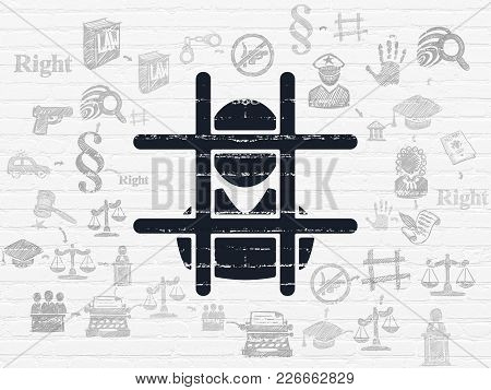 Law Concept: Painted Black Criminal Icon On White Brick Wall Background With Scheme Of Hand Drawn La