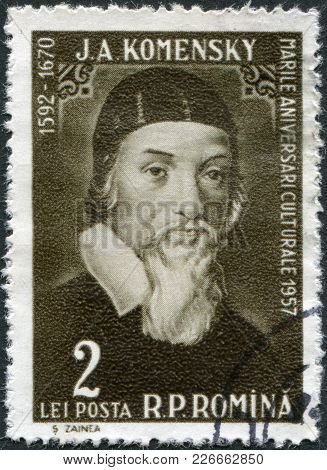 Romania - Circa 1958: A Stamp Printed In The Romania, Shows John Amos Comenius, Circa 1958