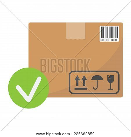 Carton Box With Check Mark Flat Icon, Logistic And Delivery, Order Delivery Sign Vector Graphics, A