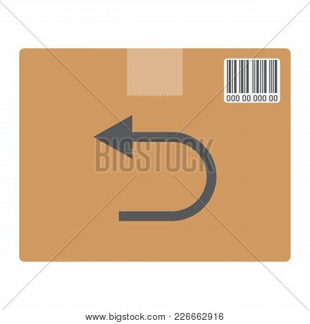 Return Shipping Flat Icon, Logistic And Delivery, Cardboard Box Sign Vector Graphics, A Colorful Sol