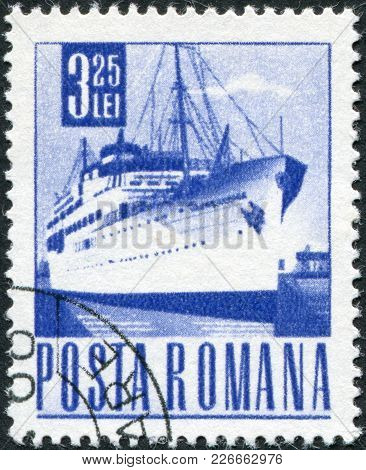 Romania - Circa 1968: A Stamp Printed In The Romania, Shows The Passenger Ship