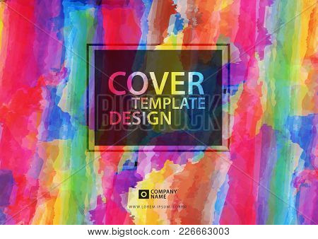 Cover Template Design, Colorful Painting Background For Business, Watercolor Vector Illustration, Ho
