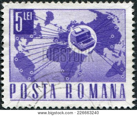 Romania - Circa 1968: A Stamp Printed In The Romania, Shows The World Map And Teletype, Circa 1968