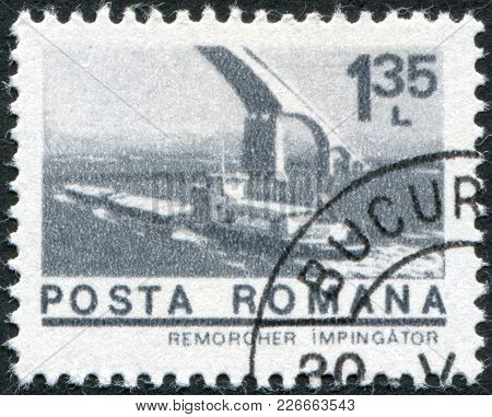 Romania - Circa 1974: A Stamp Printed In The Romania, Shows The Tugboat On The Danube River Goes Und