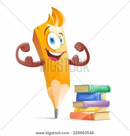 Funny Cartoon Pensil With Books. Education. Vector Illustration Flat
