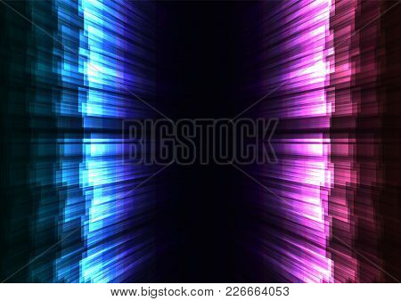 Glow Stripe Overlap In Dark Background, Blue And Pink Opposite Wall Bar Layer Backdrop, Technology T