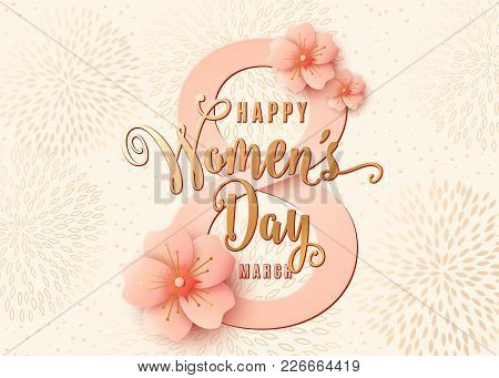 Happy Womens Day Celebration Background Design With Light Pink Flowers. 8 March Stylish Light Gold G