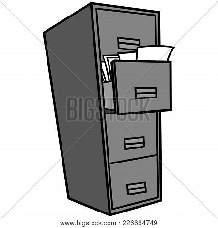 Filing Cabinet Illustration - A Vector Cartoon Illustration Of A Office Filing Cabinet.