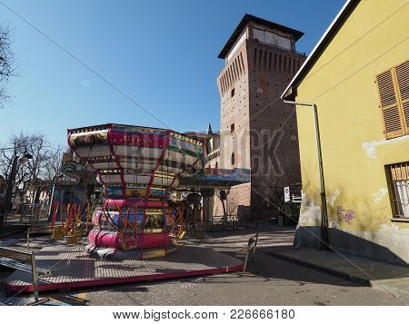 Carousels At Luna Park In Settimo Torinese